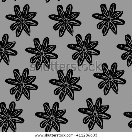 Pattern with black flowers