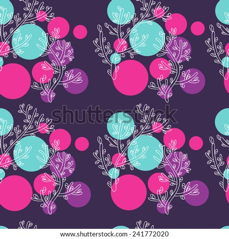 Pattern with blooming sprig and abstract circles. Print for curtains, fabric and etc. - stock vector