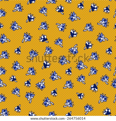 Pattern with blue flowers. Vector illustration. - stock vector