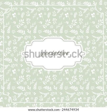 pattern with branches and leaves on pastel green background with frame - stock vector