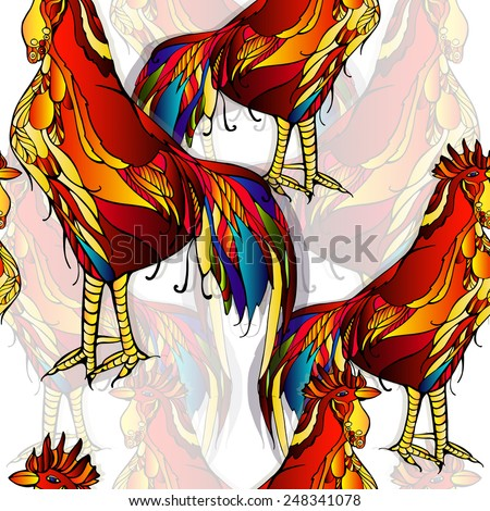 Pattern with bright, colorful, decorative rooster on a white background. Vector. - stock vector