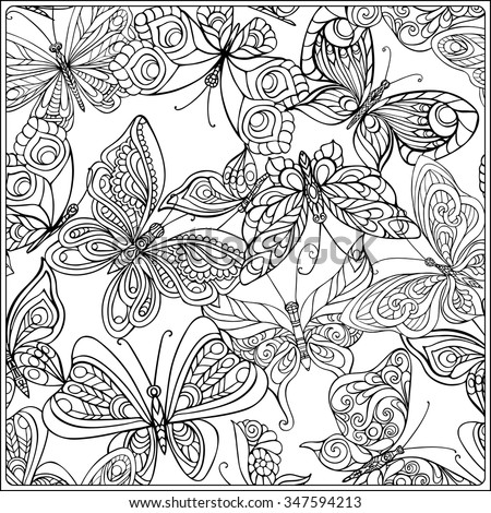 Pattern With Butterflies Coloring Book For Adult And Older Children Page Outline