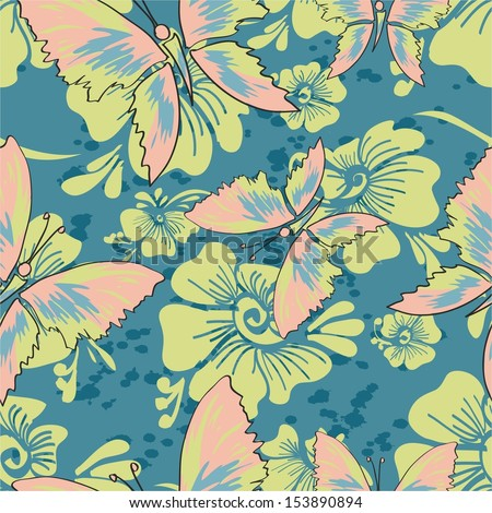 pattern with butterflies on a blue background. vector