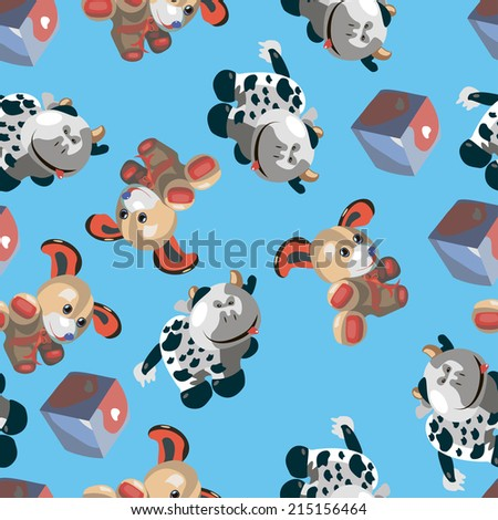 pattern with cartoon dog and cow cube on a blue background - stock vector