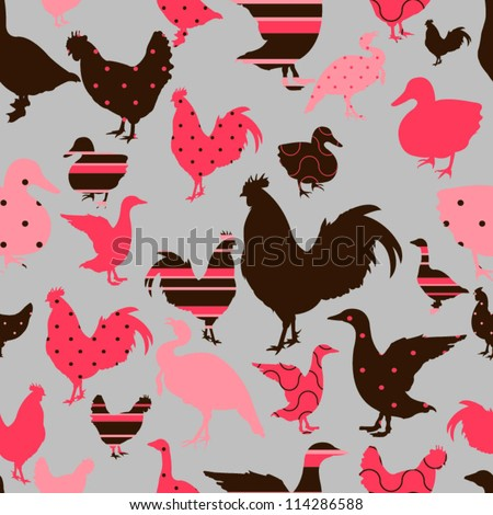 Pattern with chicken, goose, duck, turkey - stock vector