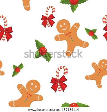pattern with Christmas cookies on a white background