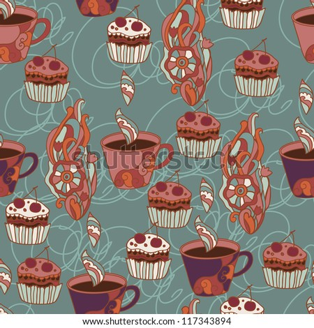 pattern with coffee cups - stock vector