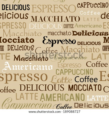 pattern with coffee names