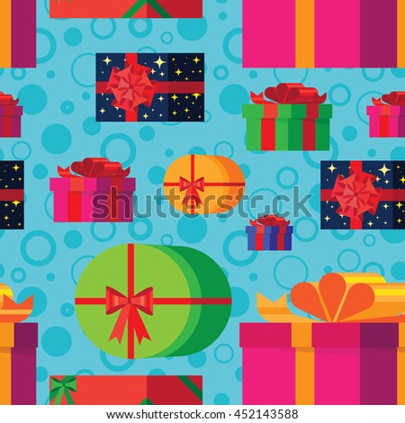 pattern with colorful, bright gift boxes. - stock vector