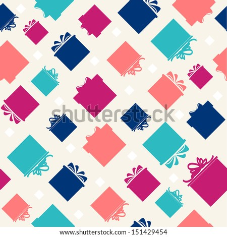 Pattern with colorful gift boxes on beige background. Vector version. - stock vector