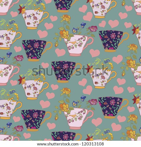 Pattern with cups, flowers and hearts - stock vector