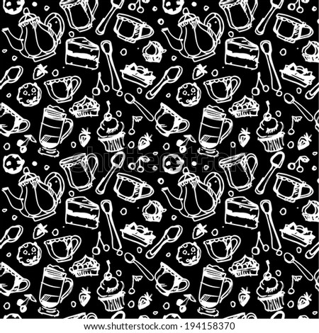 Pattern with cups, tea and cakes - stock vector