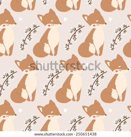 pattern with cute baby foxes, leaves and branches with i love you text message on pastel brown background. can be used for valentine's day greeting cards - stock vector
