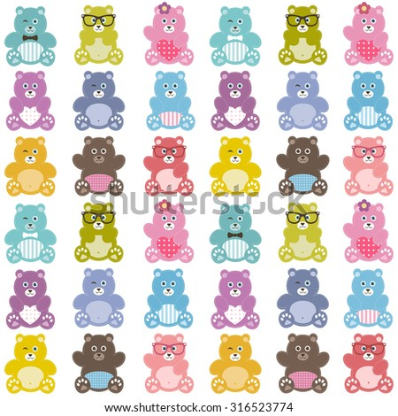 Pattern with cute teddy bears - stock vector