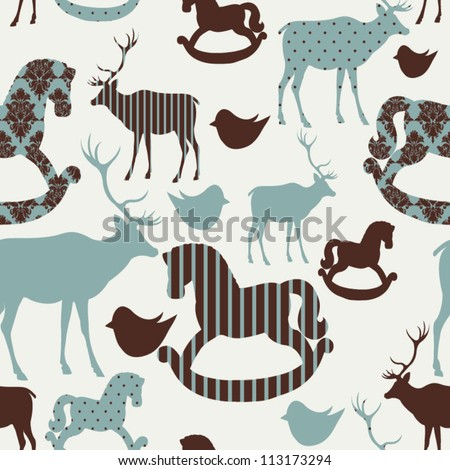 Pattern with deers and rocking horses Seamless christmas background - stock vector