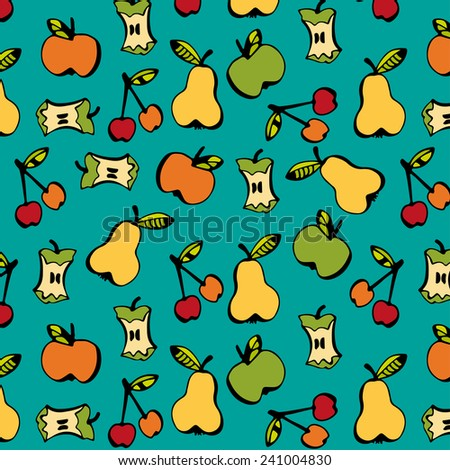 Pattern with different fruits and leaves on blue background  - stock vector