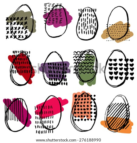 Pattern with eggs. Happy easter. Abstract ellipse pattern. - stock vector