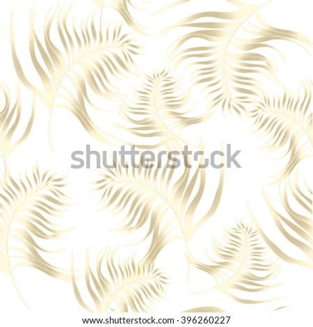 Pattern with exotic leaves in art deco style on white background