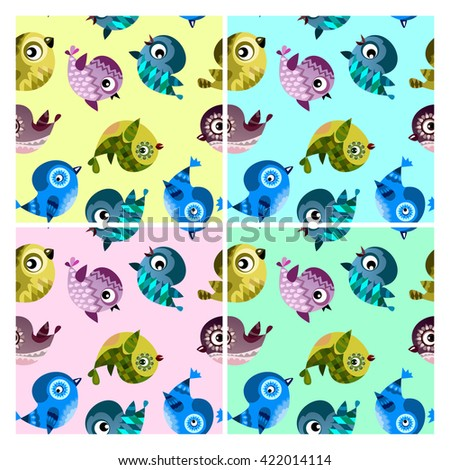 pattern with funny birds, vector birds