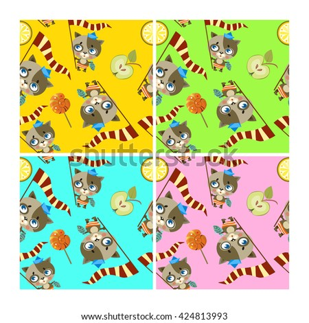 pattern with funny birds, vector birds and cats