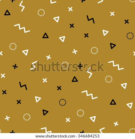 Pattern with gold and black triangles. Background can be used for fabric, poster, invitation. Modern simple style