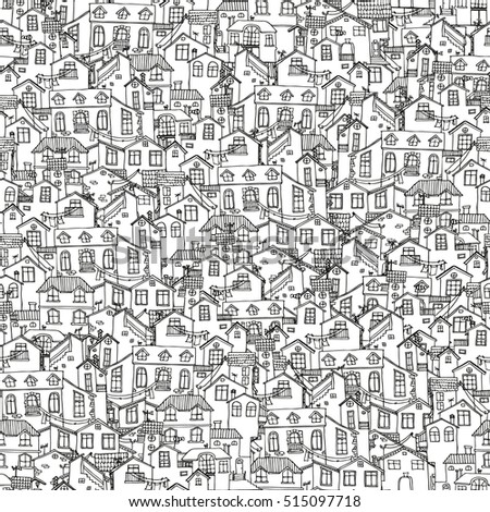 Pattern with hand drawn doodle houses  Illustration with cute house  Line  house drawing. House Doodle Stock Images  Royalty Free Images   Vectors