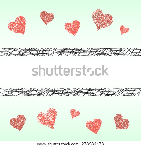 Pattern with hand drawn hearts and place for your text. St Valentine's day background. - stock vector