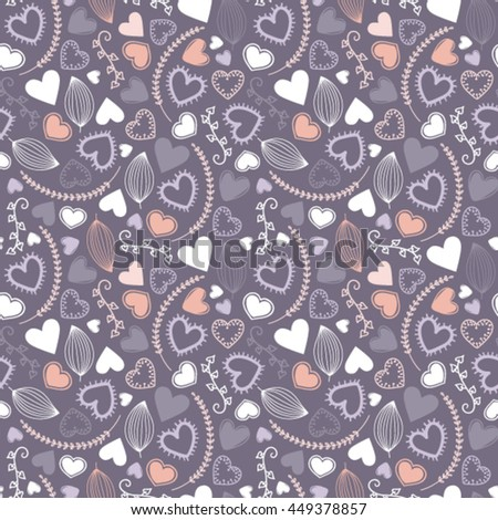 Pattern with hearts and floral elements
