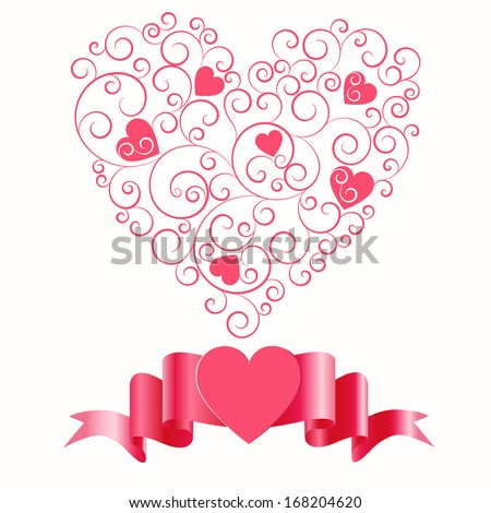 Pattern with hearts by St. Valentine's Day,vector eps 10  - stock vector