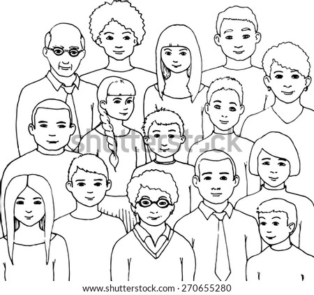pattern with illustration of a group of men and women of different nationalities and nurture. hand drawn vector illustration - stock vector
