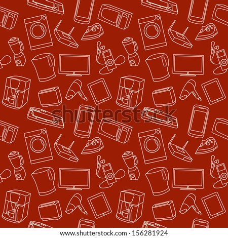 Pattern with images of household appliances  - stock vector