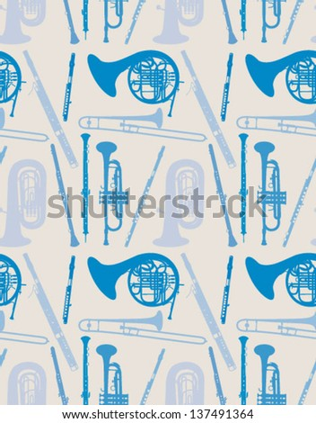 pattern with instruments - stock vector
