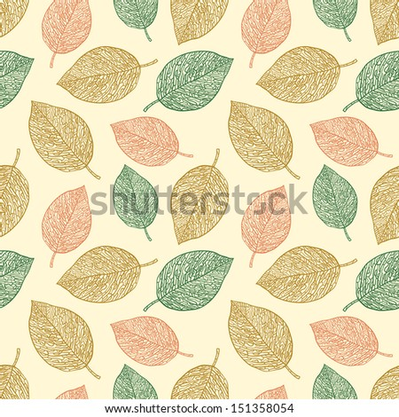 Pattern with leafs - stock vector