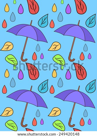 Pattern with leaves and umbrellas