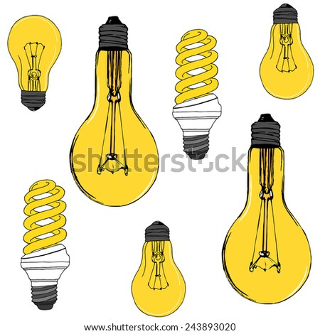Pattern with light bulbs. Vector - stock vector