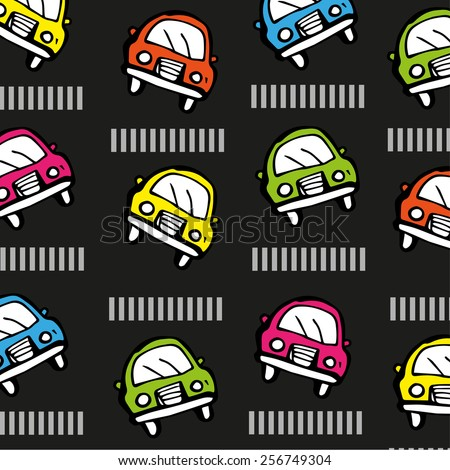 pattern with little colored cars. - stock vector