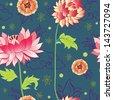 pattern with lotus flowers, peonies and chrysanthemums - stock