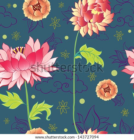 pattern with lotus flowers, peonies and chrysanthemums - stock vector