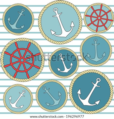 Pattern with marine elements. Vector background