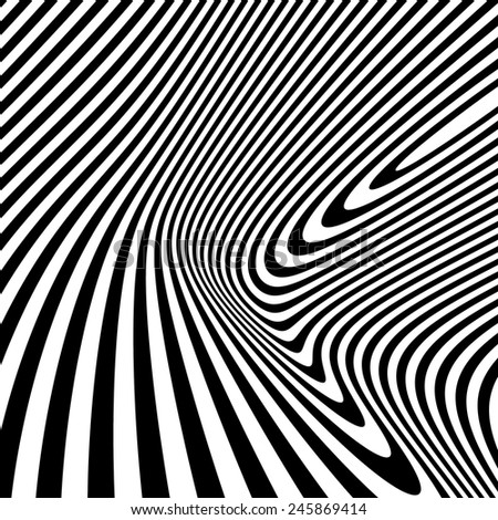 Pattern with optical illusion. Black and white background. Vector illustration.  - stock vector