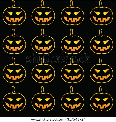 pattern with pumpkins for Halloween on a black background