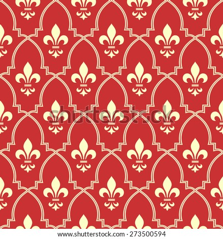Pattern with royal lily. Seamless vector background. Red and gold floral ornament. - stock vector