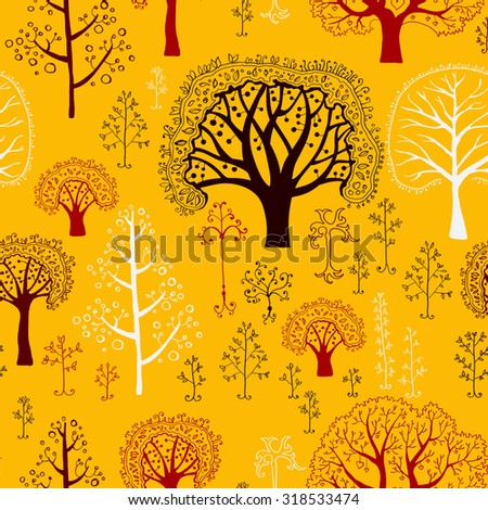 Pattern with silhouettes of trees. Cute seamless pattern with various trees. Background with forest illustration in vector