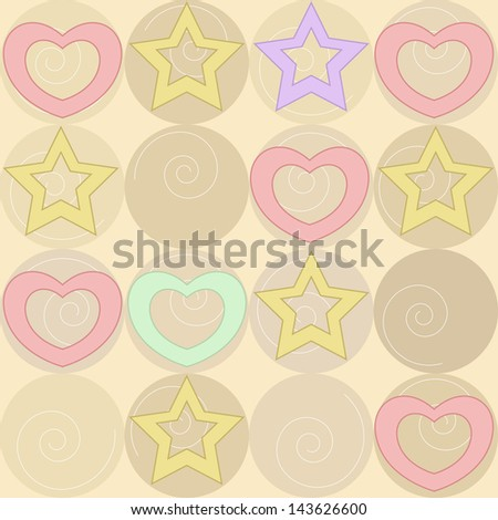 pattern with stars and hearts