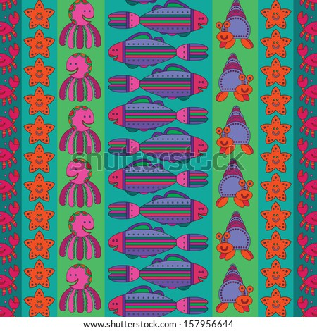 Pattern with stylize fantasy fish under water. - stock vector