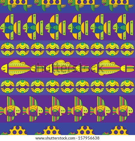 Pattern with stylize fantasy fishes under water. - stock vector