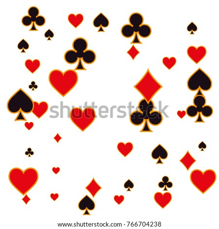 Pattern with suits of playing cards. Vector illustration for print, textile, paper