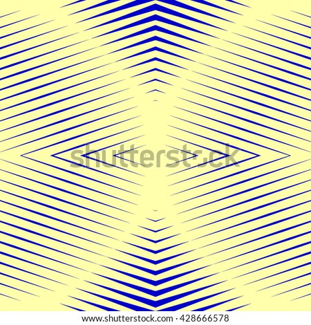 Pattern with symmetric geometric ornament. Blue sharp lines and geometrical form spheres abstract background. Optical illusion effect wallpaper. Vector illustration - stock vector
