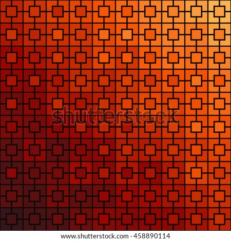 Pattern with symmetric geometric ornament. Gradient color square chain abstract background. Vector illustration - stock vector