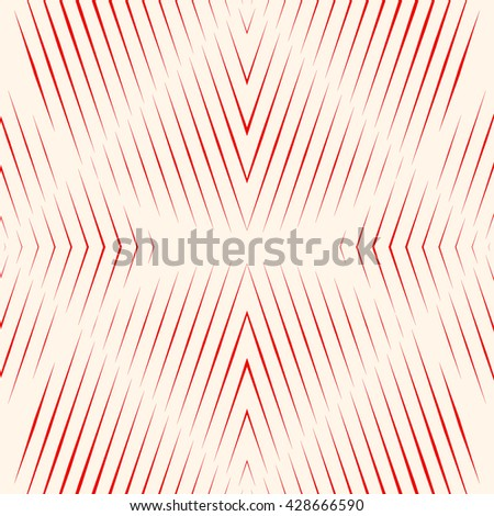 Pattern with symmetric geometric ornament. Red sharp lines and geometrical form spheres abstract background. Optical illusion effect wallpaper. Vector illustration - stock vector